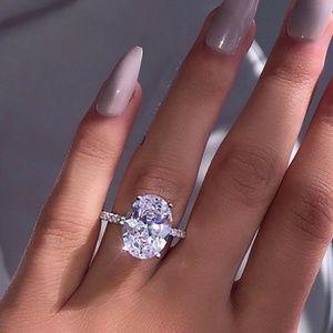 Chic Women White Sapphire  925 Silver Ring New